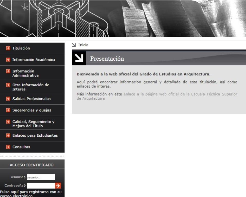 Cabecera de la web del Grado en Estudios de Arquitectura