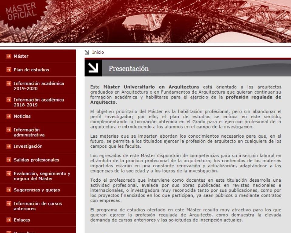 Cabecera de la web del Máster Universitario en Arquitectura