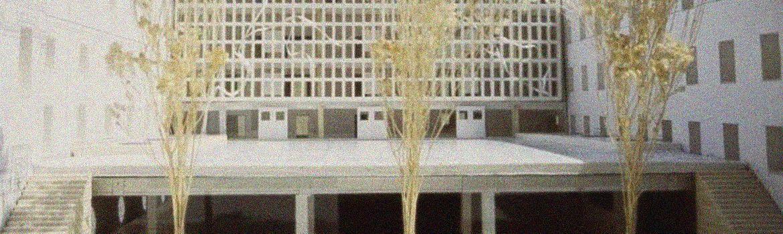 Detalle de la maqueta original del patio de central de la Escuela.